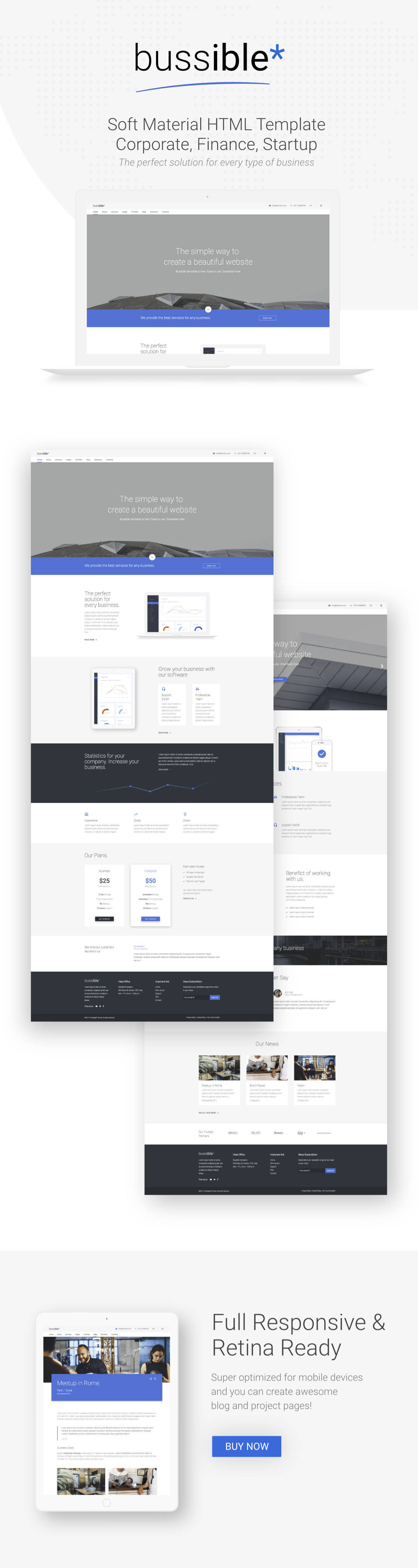 Bussible - Soft Material Corporate, Finance, Startup HTML Template - 1