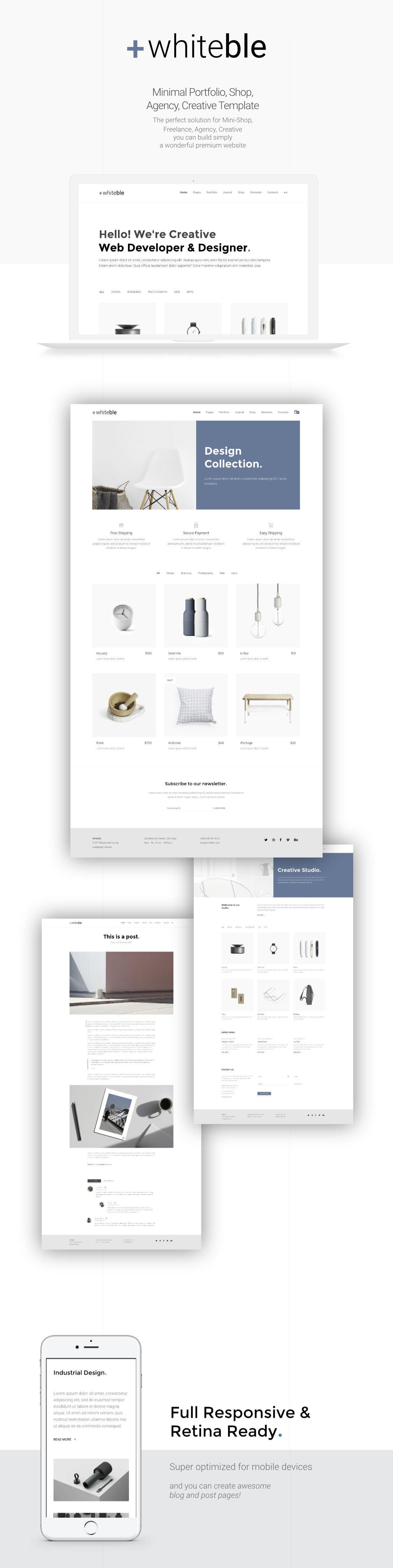 Whiteble - Minimal Portfolio, Agency, Shop, Creative HTML Template - 1